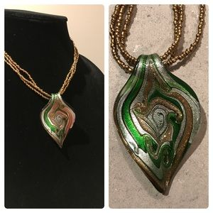 "Jewelry - 🍃16"" Emerald Green Glass Leaf Pendant Necklace"